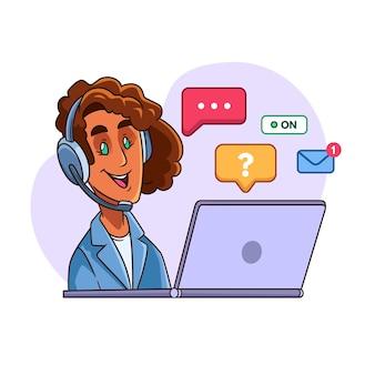 Geïllustreerde vrouw die in klantenondersteuning werkt