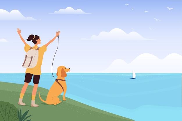 Geïllustreerde vrouw die met haar hond reist