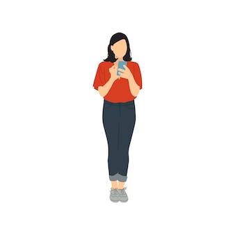 Geïllustreerde vrouw die mobiele telefoon met behulp van