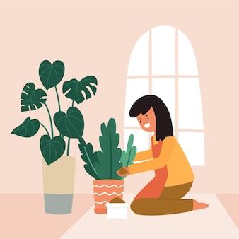 Geïllustreerde vrouw die thuis tuiniert
