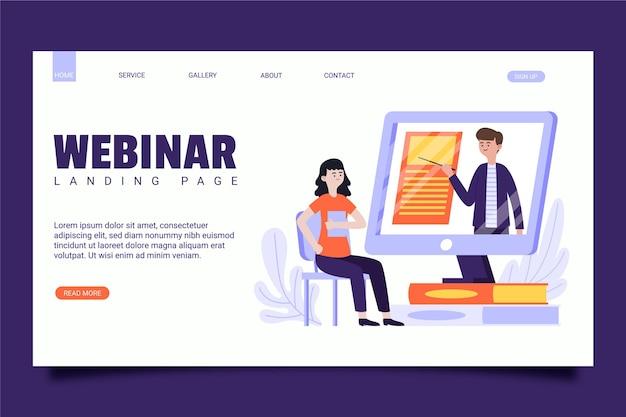 Geïllustreerde webinar-bestemmingspagina-sjabloon
