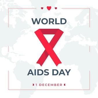 Geïllustreerde wereld aids dag lint op wereldkaart