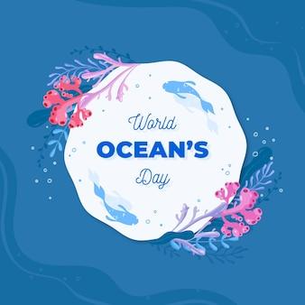 Geïllustreerde wereld oceanen dag evenement met belettering