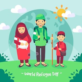 Geïllustreerde wereld vluchtelingendag tekening ontwerp