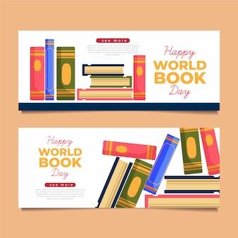 Geïllustreerde wereldboek dag banners