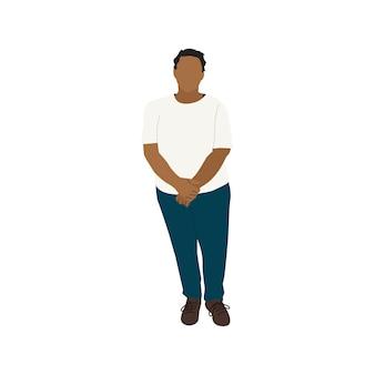 Geïllustreerde zwarte vrouw die alleen staat Premium Vector
