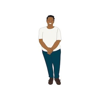 Geïllustreerde zwarte vrouw die alleen staat