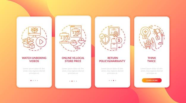 Geïnformeerde consumententips bij het onboarding van het mobiele app-paginascherm met geïsoleerde concepten