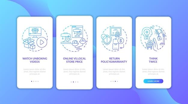 Geïnformeerde klanttips voor het onboarding van het mobiele app-paginascherm met concepten