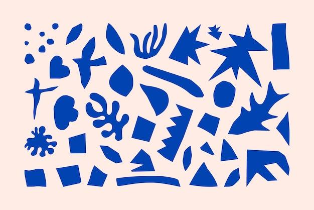 Geïnspireerde matisse geometrische en organische vormen in een trendy minimalistische stijl. vectorkunstcollage-elementen gemaakt van gesneden papier voor het maken van logo's, patronen, posters, omslagen en ansichtkaarten