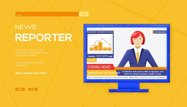 Geïnterviewd op tv-nieuwswebbanner, ui-koptekst, site invoeren. korrelstructuur en ruiseffect.