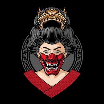 Geisha die hannya-maskervector draagt
