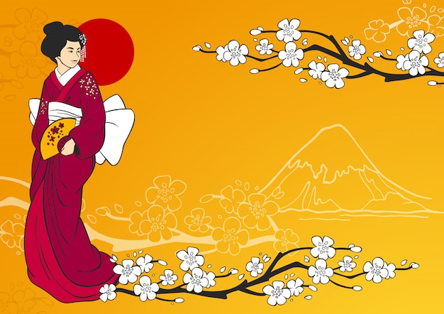 Geisha illustratie
