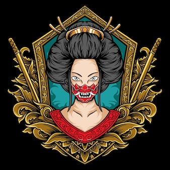 Geisha japan vrouw kunstwerk illustratie met gravure stijl