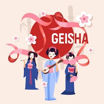 Geisha japanse mooie jonge geishavrouw in manierkimono op de illustratieachtergrond van japan