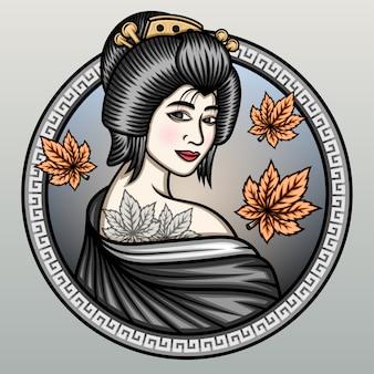 Geisha met esdoornbladeren.