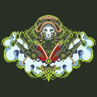 Geisha robot mascotte logo