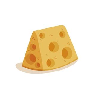 Geïsoleerd beeld van een stuk gele kaas met gaten vectorillustratie in platte cartoonstijl