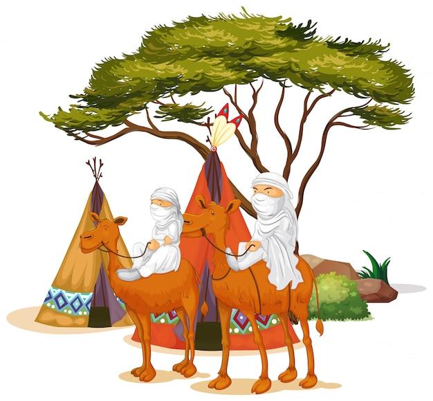 Geïsoleerd beeld van mensen die kamelen berijden