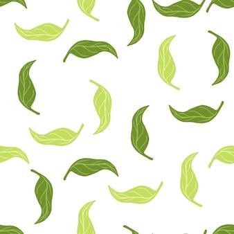 Geïsoleerd botanisch naadloos patroon met elementen van groene mandarijnbladeren