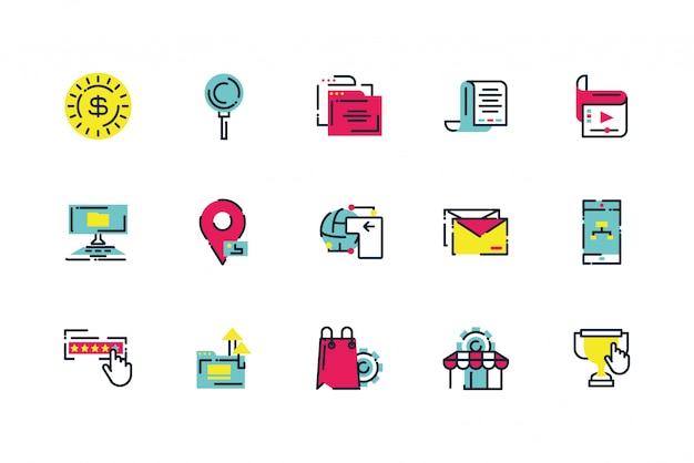 Geïsoleerd digitaal marketing pictogram vastgesteld ontwerp