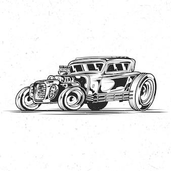 Geïsoleerd embleem met illustratie van hotrod-auto