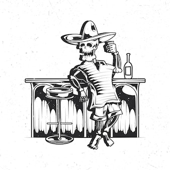 Geïsoleerd embleem met illustratie van mexicaans dronken skelet
