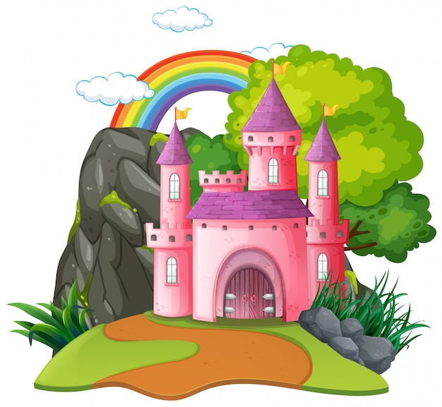 Geïsoleerd fantasie middeleeuws kasteel