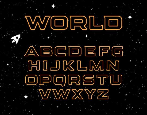 Geïsoleerd geel alfabet op ruimte
