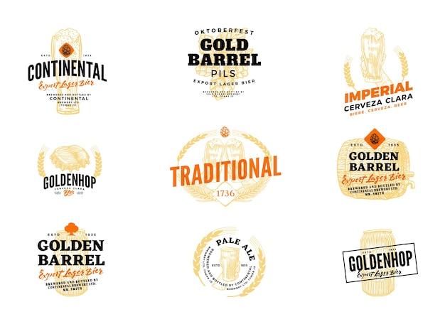 Geïsoleerd gekleurd bierhopetiket met continentale deskundige pils, keizerlijke cerveza clara gouden vat en andere beschrijvingen