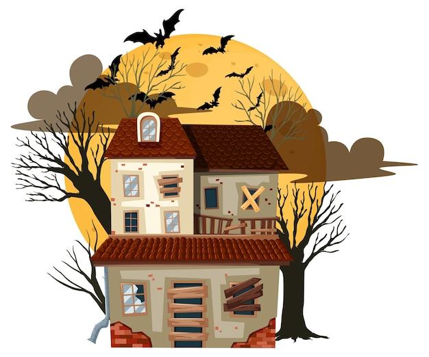 Geïsoleerd halloween verlaten gebouw