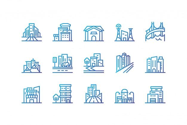 Geïsoleerd het pictogram vastgesteld vectorontwerp van stadsgebouwen