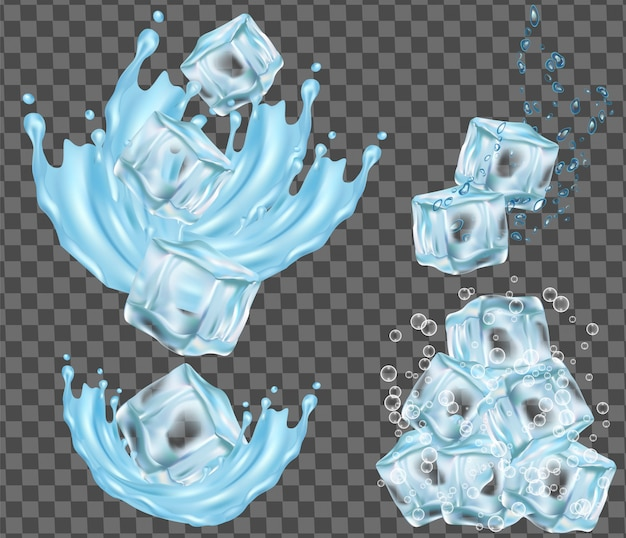 Geïsoleerd ijsblokje en waterspatten vectorillustratie