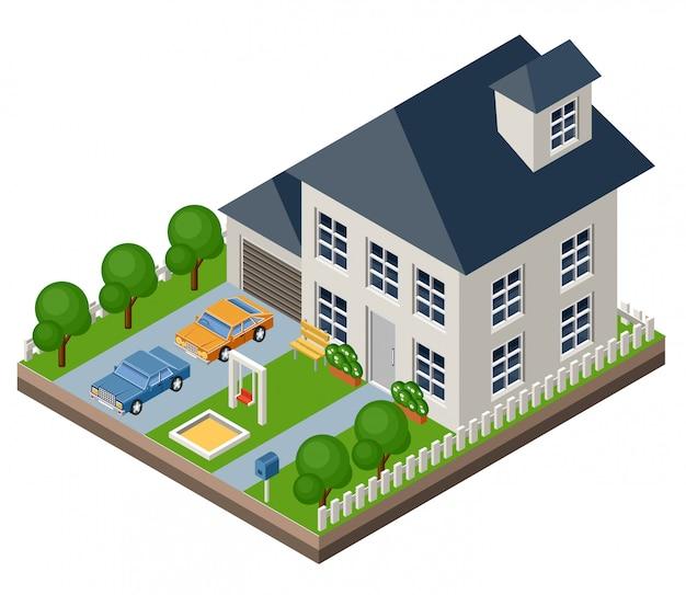 Geïsoleerd isomatisch huisje. plattelands leven. garage. groen gras. gazon. schommel.