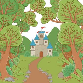 Geïsoleerd kasteel met wimpels