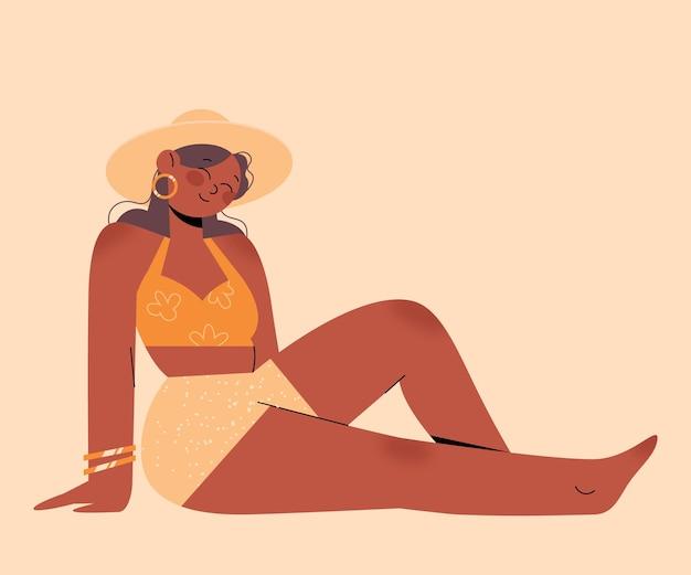 Geïsoleerd meisje in geïllustreerde bikini