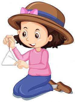 Geïsoleerd meisje in roze overhemd het spelen driehoek