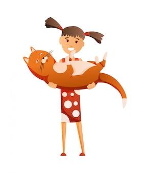 Geïsoleerd meisje met kat. hun huisdier vasthouden. vrouwelijke platte stripfiguur. kleurrijke illustratie