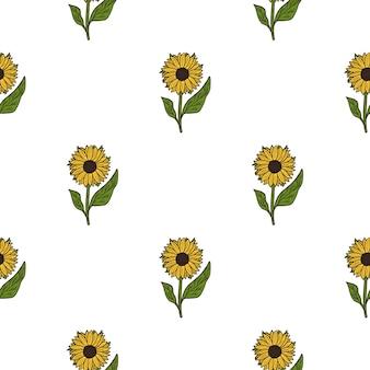 Geïsoleerd naadloos botanisch patroon met eenvoudige gele zonnebloem