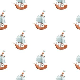 Geïsoleerd naadloos patroon met blye en beige gekleurde zeilbootschipelementen. witte achtergrond. ontworpen voor stofontwerp, textielprint, verpakking, omslag. vector illustratie.