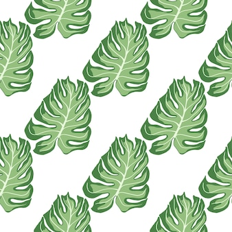 Geïsoleerd naadloos patroon met groene monstera blad silhouetten print. witte achtergrond. decoratieve achtergrond voor stofontwerp, textieldruk, inwikkeling, omslag. vector illustratie.