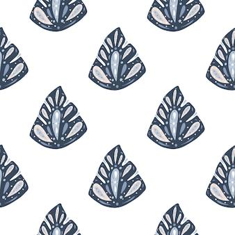 Geïsoleerd naadloos patroon met marineblauwe hand getrokken abstracte monsterabladvormen.
