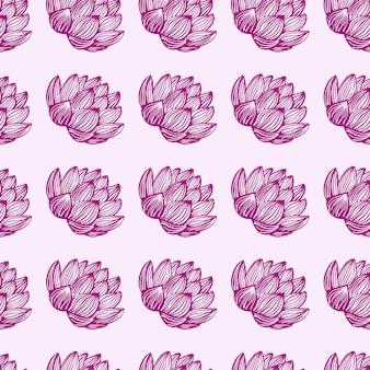 Geïsoleerd naadloos patroon met roze voorgevormde lotusbloemvormen.