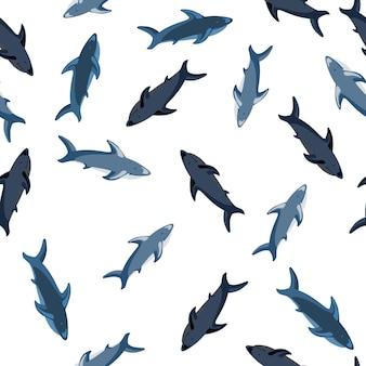 Geïsoleerd naadloos patroon met willekeurige blauwe haaien willekeurige print. witte achtergrond. scrapbook doodle sieraad. ontworpen voor stofontwerp, textielprint, verpakking, omslag. vector illustratie.