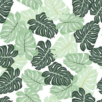 Geïsoleerd naadloos patroon met willekeurige groene pastel monstera bladeren vormen. witte achtergrond.