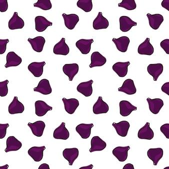 Geïsoleerd naadloos patroon met willekeurige kleine paarse vijgensilhouetten afdrukken