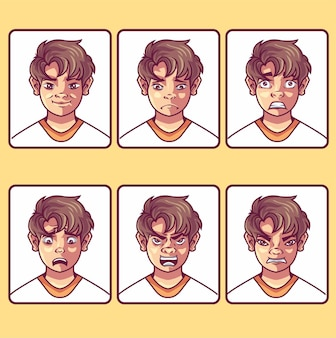 Geïsoleerd object van avatar en gezicht icon set van avatar