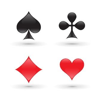 Geïsoleerd op witte kaartkostuums, diamant, hart, snoek en club