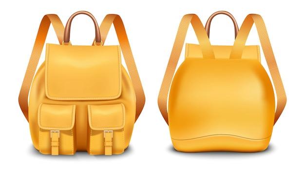 Geïsoleerd pictogram in voor- en achteraanzicht van een schooltas of campingrugzak. kamp en wandel tas.
