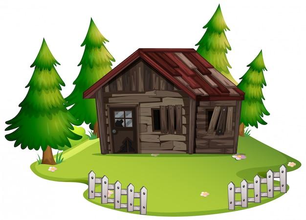 Geïsoleerd verlaten oud huis in het hout